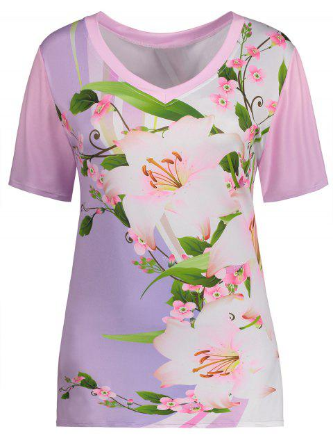 buy V Neck Floral Plus Size Top - FLORAL 5XL Mobile