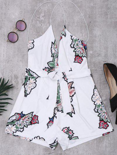 Elastic Straps Backless Floral Romper - White M