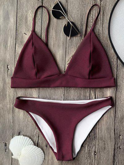 806abd4908772 Cami Plunge Bralette Bikini Top And Bottoms - Burgundy L