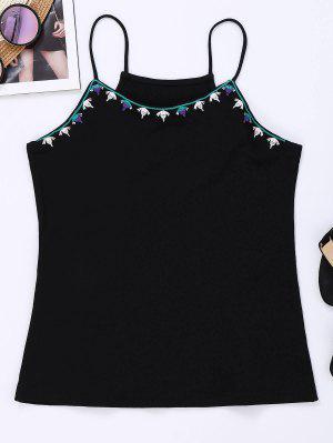 Camiseta Bordada Cami De Cami - Negro S
