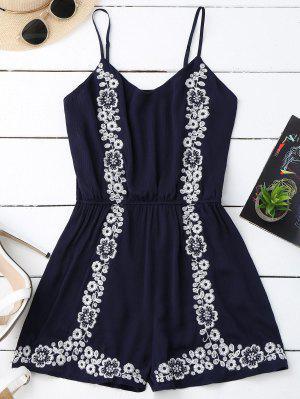 Cami Floral Embroidered Romper - Purplish Blue