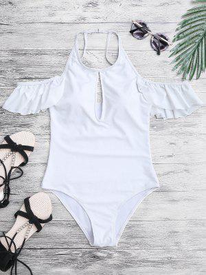 Alto Cuello Frilly Slimming Traje De Baño De Una Pieza - Blanco M
