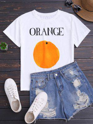 Short Sleeve Orange Print T-Shirt - White