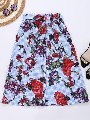 Falda Floral Con Cuadros - Comprobado L