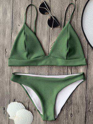 Cami Top Et Bas De Bikini Bralette Plongeant - Vert S