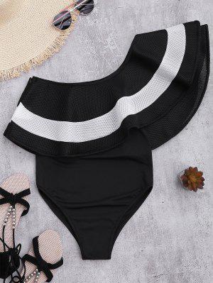 Contrast Ruffle Overlay One Piece Swimsuit - Black Xl