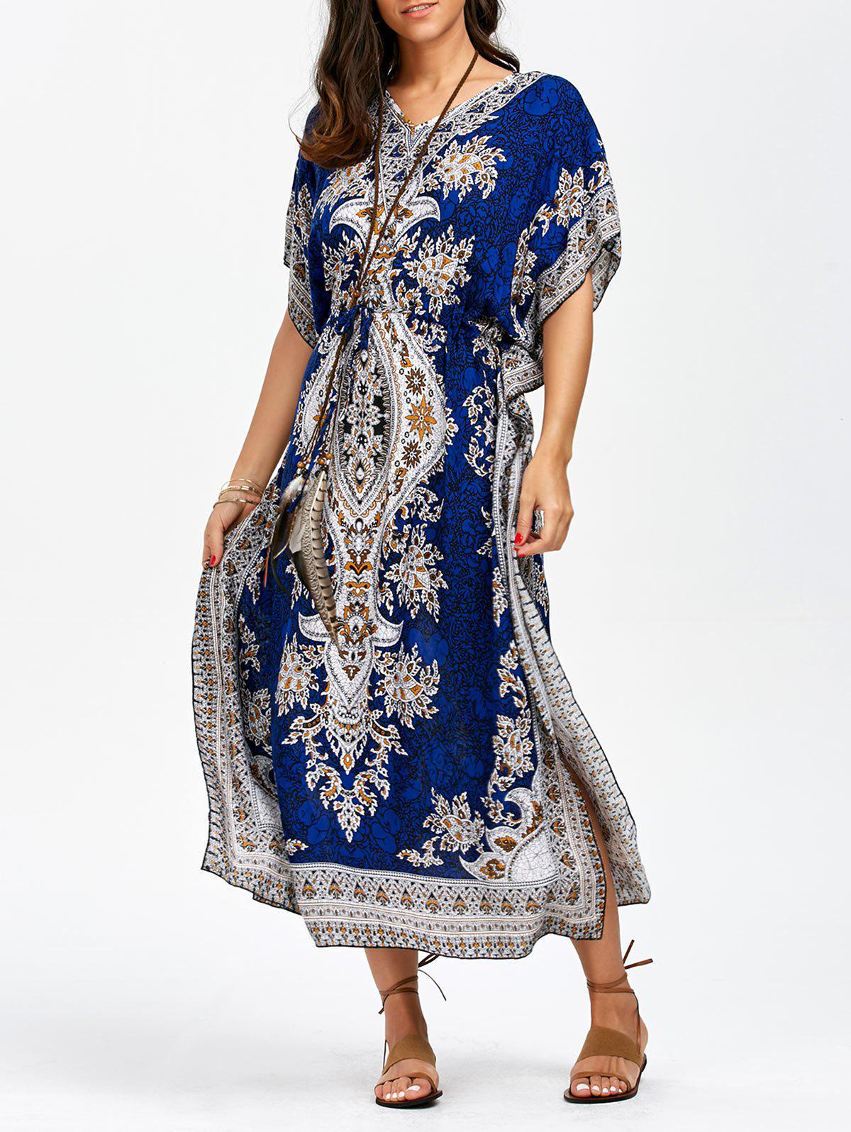 Arab Print Drawstring Waisted Maxi Kaftan Robes