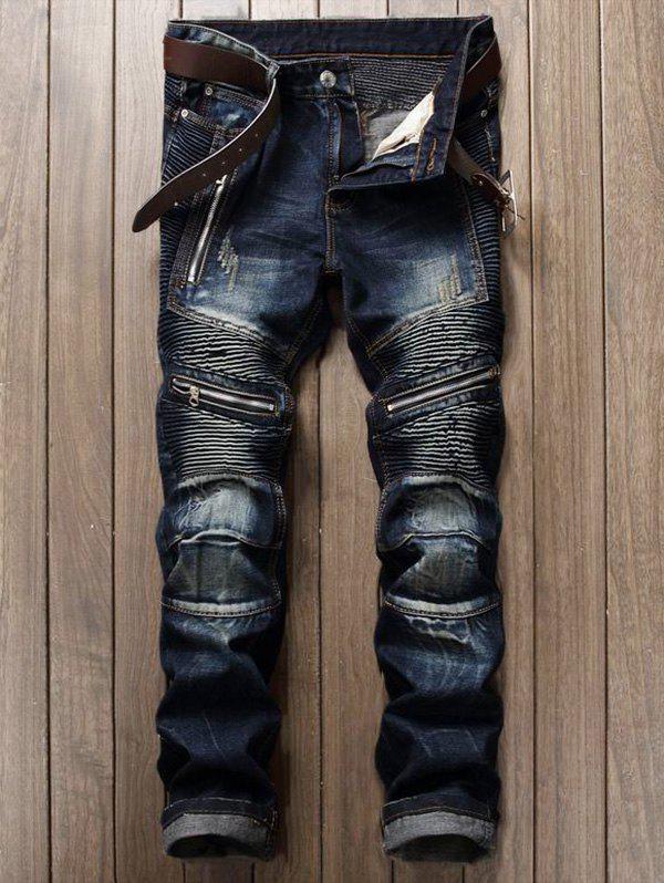Zipper Design Biker Cuffed Jeans 212985605