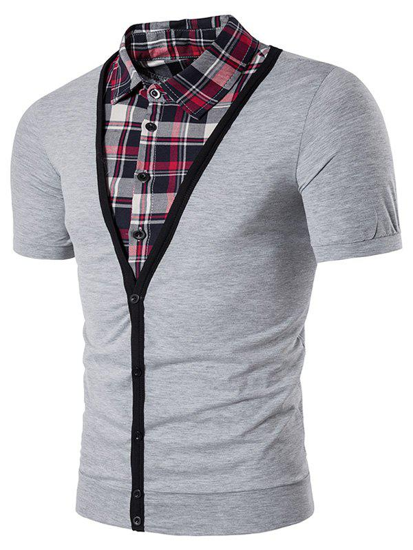Faux Twinset Plaid Shirt Panel Single Breasted T Shirt 213029511