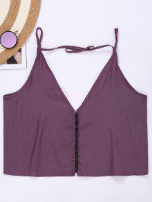 Button Up Spaghetti Strap Crop Tank Top - Purple L
