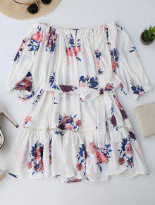 Mini Vestido Ahuecado De Flores Con Hombros Al Aire - Floral M