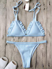 Traje De Bikini Texturizado Acanalado Con Volantes Y Cordón - Azul M