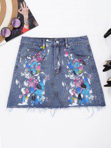 Frayed Paint Splatter Denim Skirt - Denim Blue L