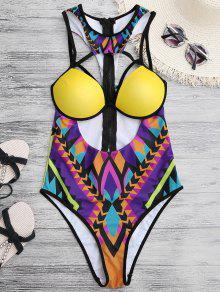 African Print Cut Out One Piece Swimwear - Yellow L