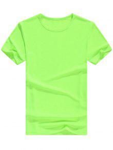 الأساسية الرقبة الرقبة قصيرة الأكمام تي شيرت - نيون الخضراء L