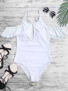 High Neck Frilly Slimming One Piece Swimsuit - White M