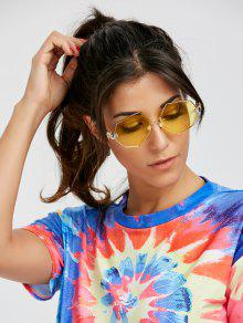 Faux Pearl Nose Pad Geometric Sunglasses - Yellow