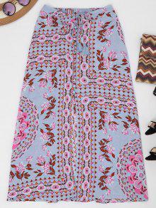 Button Up Slit Floral Holiday Skirt - Floral L