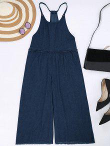 Frayed Trim Cami Wide Leg Denim Overalls - Cerulean M