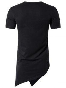 683d0c87625f ... Henley Collar Asymmetrical Cutting and Button Design Longline T-Shirt  ...