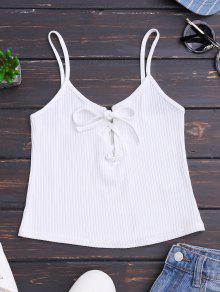 Ribbed Lace Up Crop Tank Top - White S