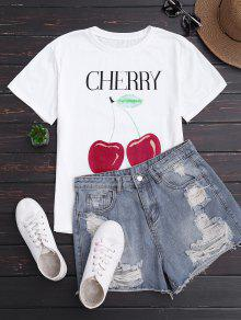 Cherry Print Short Sleeve T-Shirt - White