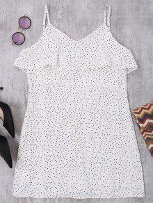 V فستان كامي كشكش البولكا نقطة الظهر على شكل - أبيض S