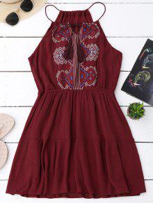 فستان الشمس مطرزة شرابة - نبيذ أحمر