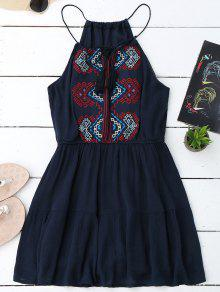 Embroidered Tassel Sundress - Purplish Blue