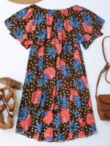 Ruffle Off Shoulder Pineapple Dress - Coffee M