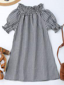 Off The Shoulder Puff Sleeve Plaid Dress - Checked L