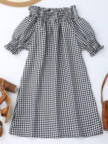 Plaid Shoulder The M Dress Sleeve Off Comprobado Puff qTICwxxvB