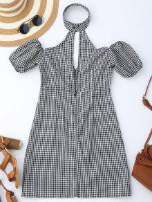 Choker Empire Waist Plaid Dress - Checked Xl