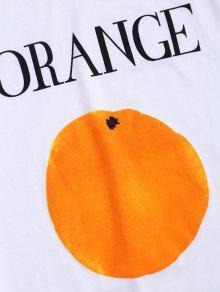 Impresi Corta Manga Blanco Camiseta 243;n De De Naranja XqY5wx