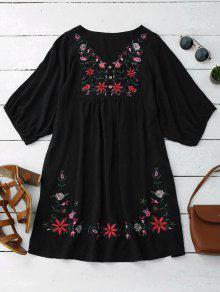 Vestido De Campesino Con Cuello En V Con Bordado Floral - Negro