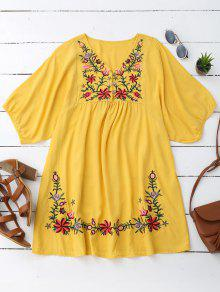 Floral Embroidered V Neck Peasant Dress - Yellow