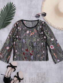 Floral Sheer Mesh Beach Cover Up Top - Black L