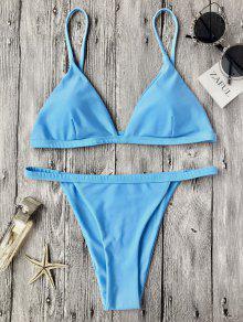 انخفاض مخصر السباغيتي حزام بيكيني ملابس السباحة - أزرق S
