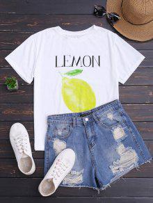 تي شيرت طباعة الليمون قصيرة الأكمام - أبيض