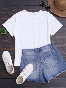 De Mangas 243;n Blanco Camiseta Estampado Con Con Lim Cortas qcOxEw4Hn