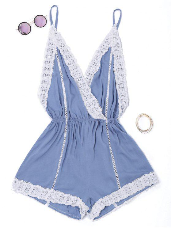 best Plunge Lace Trim Open Back Romper - BLUE S