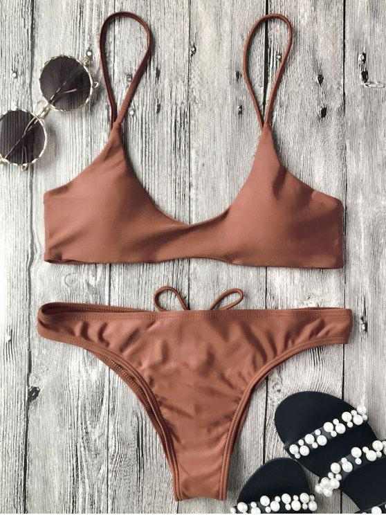 affordable Spaghetti Straps Padded Bikini Set - DARK AUBURN S