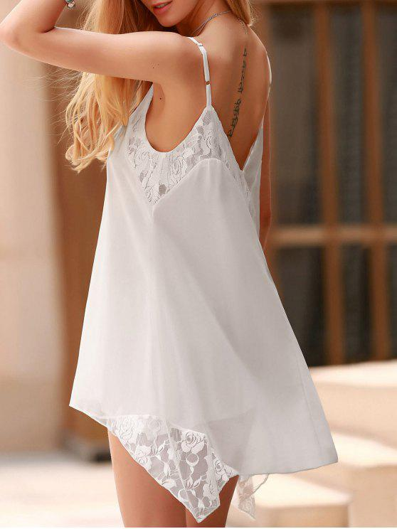 hot Lace Spliced Spaghetti Straps Solid Color Dress - WHITE L