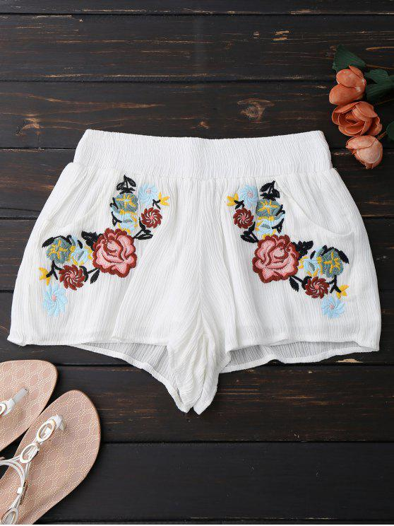 ladies Lined Floral Embroidered Shorts - WHITE L