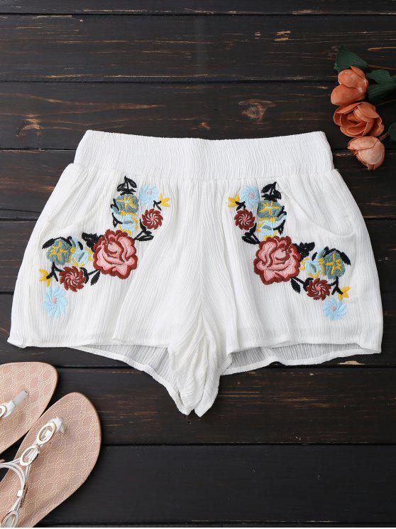 Pantalones bordados florales bordados - Blanco S
