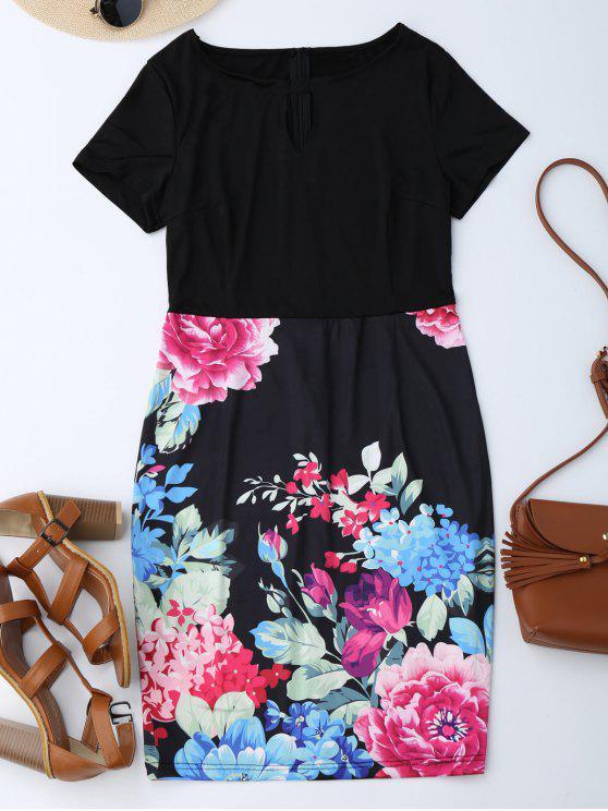 Robe fourreau florale avec découpe - Noir XL