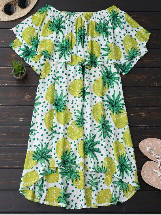 Robe à motif d'ananas à volants à encolure-bateau - Jaune Bleuâtre L