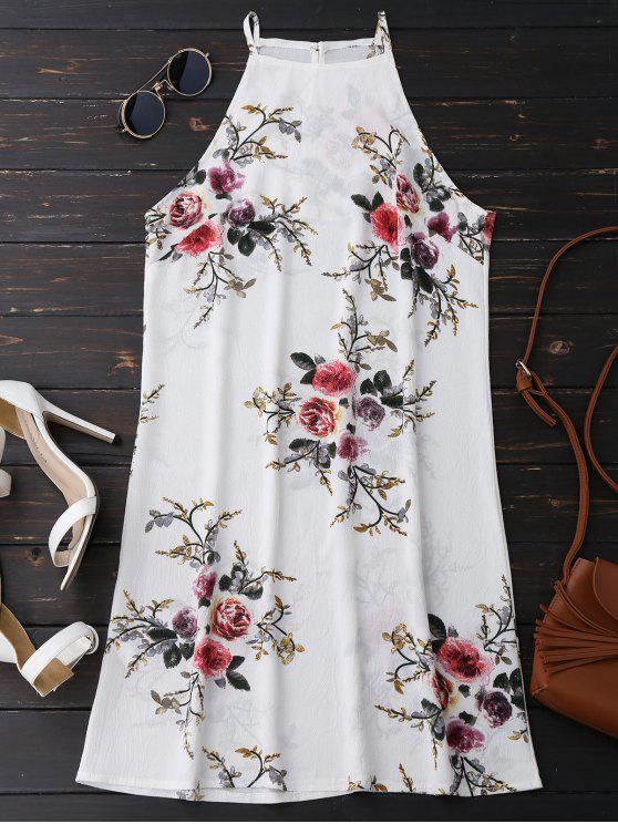 Vestido Floral con Cuello Alto en A Línea - Floral L