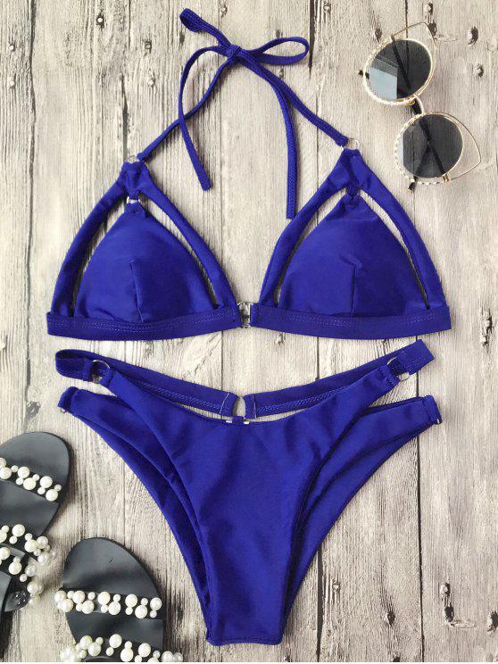Top et culotte de Bikini découpés à bretelles - Bleu L