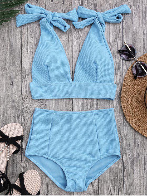 fashion Tied Plunging Neck High Waisted Bikini - AZURE S